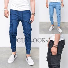 Pre-Washed Mens Drawcord Slim Baggy Cargo Cuffed Jogger Denim Jeans Guylook in Clothing, Shoes & Accessories, Men's Clothing, Jeans | eBay