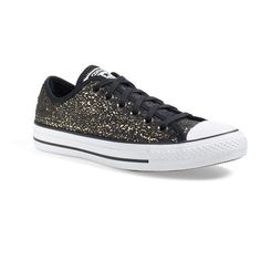 Converse Chuck Taylor All Star 'Distressed Sequin Ox' Sneaker ($65) ❤ liked on Polyvore featuring shoes, sneakers, rubber sole shoes, lacing sneakers, converse shoes, sequin shoes and star shoes