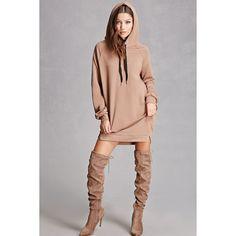 Forever21 Longline Drawstring Hoodie ($38) ❤ liked on Polyvore featuring tops, hoodies, light brown, forever 21, hooded pullover, eyelet top, longline hoodie and hooded sweatshirt