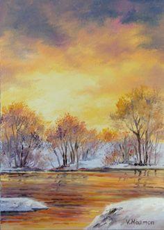 Miniature Oil Paintings   Yessy Home > Varvara Harmon > Mini Oil Paintings > Winter Gold Sunset