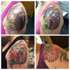 Progression of my paisley shoulder cap tattoo! #paisley #callalilly #orchid