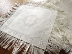 "LOVELY & UNUSED Antique CZECH 12 Damask Woven Linen 8"" Cocktail Napkins FRINGED"