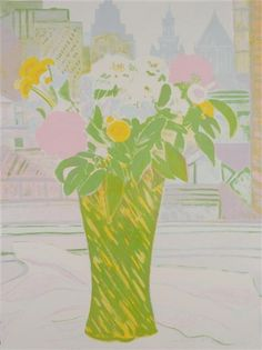 Jane Freilicher, Bouquet in a Green Vase