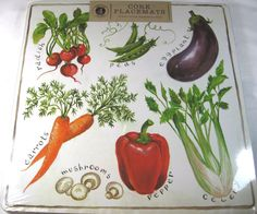 "Cork Placemats  Vegetables Set of 4 113.75"" x 13.75 In. Square  Easy Care #BensonMills"