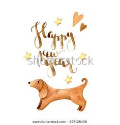 Watercolor dog cute illustration on white background. Chinese calendar, zodiac. Symbol of 2018 New Year.