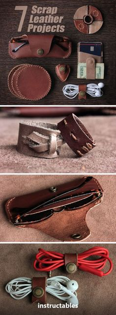 7 Scrap Leather Projects #leatherworking #accessories