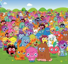 use bright and colourful characters, appeals to the younger audience target base. Moshi Monsters, Monster Party, Yoshi, Different Colors, Illustration Art, Seasons, Musical Mystery, Giveaways, Video Games