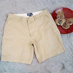 Polo Ralph Lauren Mens Khaki Shorts Size 36 Prospect 100% Cotton Flat Chino o259