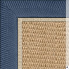 Jute Herringbone Rug Border Cotton Blue Piping Ivory 1cm