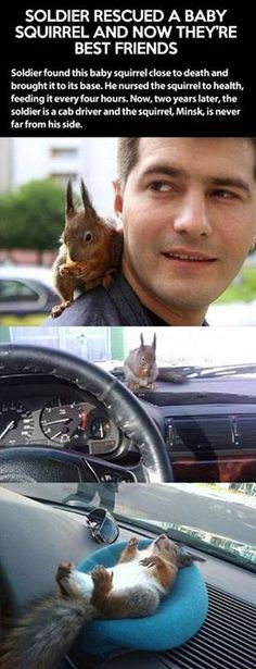 Such a sweet story. Love the squirrel's couch.. Why does animal kindness make men soooo much more attractive??
