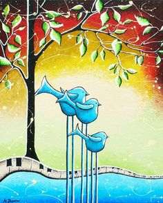 Blue Birds Family Painting Original Whimsical Mother's Day Art