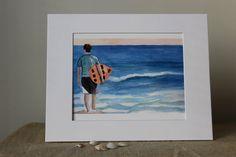 Watercolor Serenity 8 x10 Print with a by LandandSeaArtStudio