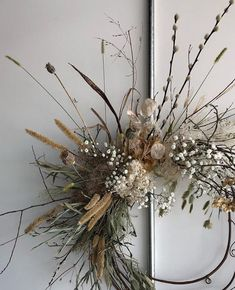 How stunning is this dried floral wreath by - all the . Whats inspiring you this fall? Share at and we might repost. Dried Flower Wreaths, Dried Flowers, Fresh Wreath, Autumn Wreaths, Holiday Wreaths, Diy Wanddekorationen, Christmas Crafts, Christmas Decorations, Xmas