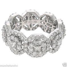 Womens Ladys 3.51CT 18KT White Gold Eternity Style Princess Round Diamond Ring | eBay