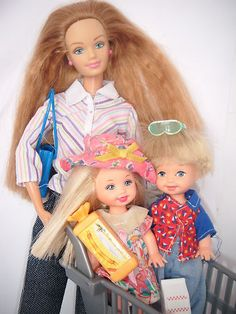 Mattel Happy Families Midge Barbie Doll with Twins Shopping Trolly Food L K | eBay
