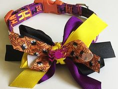 Purple Halloween Collar with Matching Bow for All Dogs and Cats by UppityPuppitys on Etsy