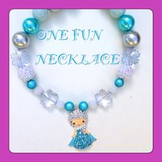 Handmade Frozen Elsa Girls Chunky Bead Necklace by OneFunNecklace, $19.00