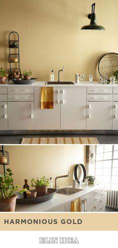 69 Trendy Farmhouse Paint Colors Behr Spaces 69 T Yellow Kitchen Paint, Paint For Kitchen Walls, Painting Kitchen Cabinets White, Kitchen Paint Colors, Kitchen Redo, Kitchen Modern, Yellow Cabinets, White Cupboards, Kitchen White
