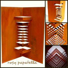 escultura aço oxidado - origami arquitetonico I by rosy papatella