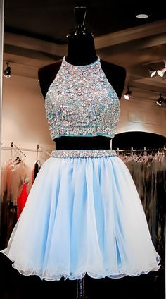 Prom Dresses For Teens, Custom Made Two-Piece Crystal Beading Embroidered Tulle Evening Dress, Homecoming Dresses, Graduation Dresses Short prom dresses and high-low prom dresses are a flirty and fun prom dress option. Two Piece Homecoming Dress, Prom Dresses Two Piece, Cute Prom Dresses, Dance Dresses, Prom Gowns, Pretty Dresses, Evening Dresses, Dress Prom, Party Dress