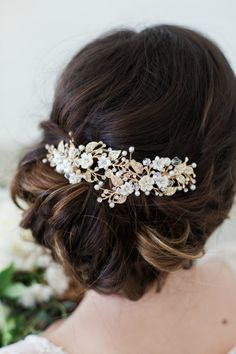 Swarovski Crystal and Pearl Gold Flower Headpiece