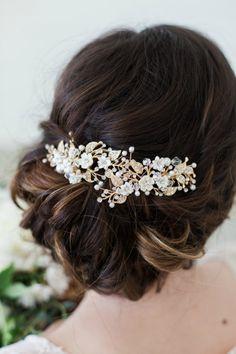 Swarovski Crystal and Pearl Gold Flower Headpiece