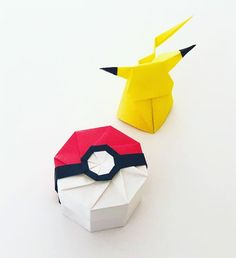 Learn how to make a cute Origami Pikachu! This three-dimensional origami pokemon is in a sitting position and will happily keep you company on your desk! Origami Ball, Diy Origami, Origami Simple, Origami Mouse, Origami Yoda, Origami Star Box, Origami Envelope, Origami Fish, Modular Origami