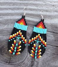 """Native American Style 2"""" Small Black Rounded Fringe Beaded Earrings"""