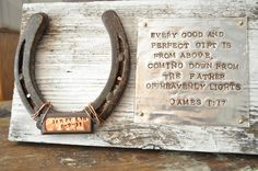 Personalized baby western gift in Rustic reclaimed wood, horseshoe with baby name and birthdate, cowboy, nursery wall art. $39.00, via Etsy.