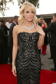 Carrie Underwood in a 31 million dollarJohnathon Arndt diamond necklace at the 2013 Grammy Awards (setting a record for the most expensive red carpet jewel)