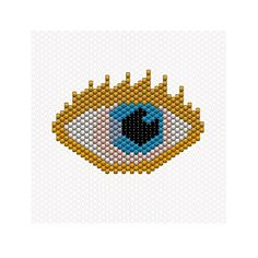 Aujourd'hui j'ai un œil sur vous C'est le cinquième jour et j'ai enfin réussi à faire le motif que je souhaite faire depuis longtemps youhouuuu ❤️ #goldeneye #eye #miyuki #miyukidelica #perlesmiyuki #oeil #brickstitch #lookatme #blueeyes #tissage #jenfiledesperlesetjassume #jenfiledesperlesetjaimeca #motifcharlottesouchet Charlotte Souchet © ⭐️ Peyote Patterns, Loom Patterns, Beading Patterns, Cross Stitch Patterns, Seed Bead Crafts, Beading Tools, Peyote Beading, Bijoux Diy, Peyote Stitch