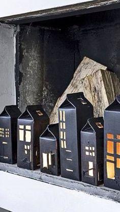 Tetrapakhäuser als Laterne