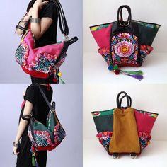 3 way hmong bag can change shape to become shoulder bag or tote bag