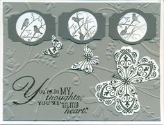 SU: basic gray, going gray, Mixed Bunch flower stamp/punch for butterflies.