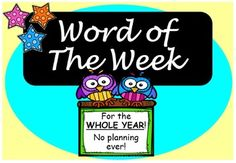Vocabulary activity - word of the week printable poster set for the whole year plus templates for class games and labels for creating a word wall. Easy yet outstanding way to improve students reading, writing and speaking skills.Word of the Week Package.