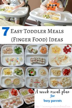 7 Toddler Meal / Baby Finger Food Ideas When my babies started eating solids, my cooking life became a little bit more challenging… And now that they are eating three times a day, plus snacks, it is hard to think of a variety of fo… Healthy Toddler Meals, Toddler Lunches, Kids Meals, Healthy Snacks, Healthy Recipes, Toddler Food, Toddler Menu, Toddler Meal Plans, Detox Recipes