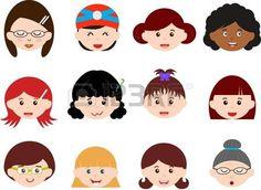 Un tema de Jefes bonitos iconos de ni�as, mujeres, ni�os Mujeres Establecer diferentes etnias, aisladas sobre fondo blanco photo