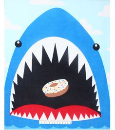 No Sew Fleece Throw 48\u0022-Shark Eating Donut Panel,