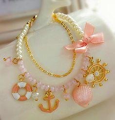 Nautical Charm Faux Pearl Bracelet