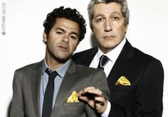 "Jamel Debbouze et Alain Chabat portent la pochette ""Who Killed Bill?""by Pochette Square - shooting by GQ"