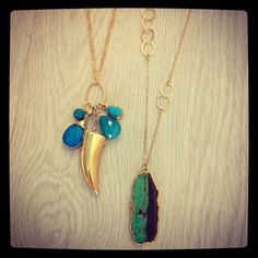 """""""Sleeping Beauty Turquoise"""", Crisicolla, and Horn Cluster, and Green Crysophase pendant w/ 18 kt gold overlay necklaces"""