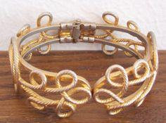 Vintage Gold Tone Unique Scroll Design Hinged Artform  Bangle Cuff Bracelet  #Unbranded #Bangle