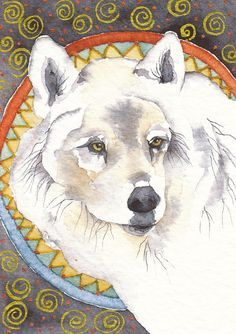 spirit wolf. Healer to man. She travels silently and restores spiritual and physical balance. By Gretchen Del Rio