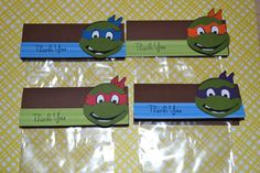 Ninja Turtle Party Favor / treat Goodie Bags (Set of 12). $7.25, via Etsy. remember this idea
