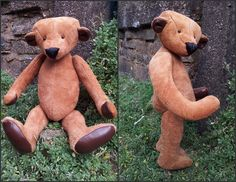 Hand made fully jointed teddy bear with glass eyes. made of real suede and leather. made by myself..for sale on ebay...