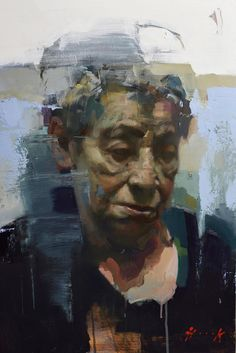 """Marina Hook"" (Grandmother) - Christian Hook {contemporary #expressionist art female head elderly woman face portrait grunge painting drips} christianhook.com"