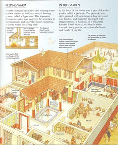 Domus cross-section ~ Encyclopedia of the Roman World, Usborne publishing 2001 Ancient Rome, Ancient Greece, Ancient History, Roman Architecture, Ancient Architecture, Architecture Romaine, Rome Antique, Villa, Ancient Buildings