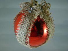 Shabby Chic Christmas Ornament.  Burlap, Rhinestones on Etsy, $5.95