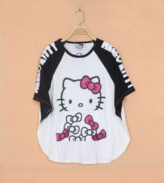 2014 summer plus size color block hello kitty  t-shirts for women US $20.00