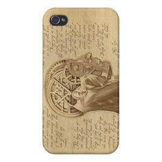 Mechanically Inclined Sepia Horizontal Cover For iPhone 4 Case. Muscle, human brain, medical. Gears and Cogs with a Mechanical, engineering or steampunk theme. Metal, machinery, industrial and steampunk gift products for sale.
